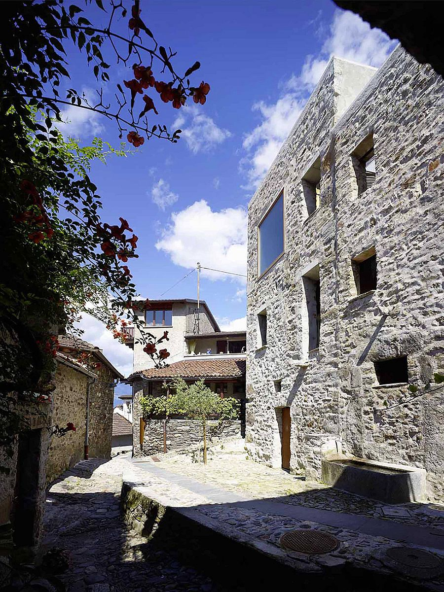 Stone walls of the house give it a classic and unique appeal