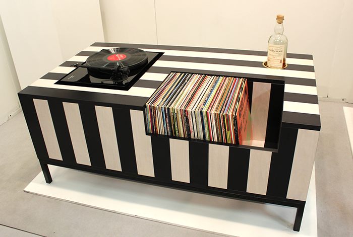 Striped Record Player Table