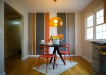 Striped accent wall idea for small breakfast nook