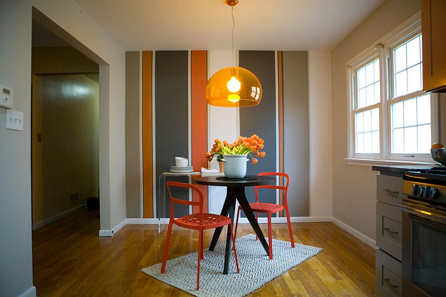 10 dining rooms with snazzy striped accent walls for Accent wall color ideas for kitchen