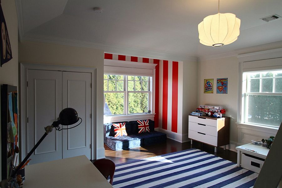 Stripes highlight the lovely little nook in the kids' bedroom [Design: Heartwood Corp]