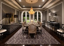 Stunning Mediterranean style dining room in gray