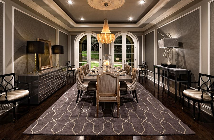 Stunning Mediterranean style dining room in gray [Design: Jennifer Bevan Interiors]