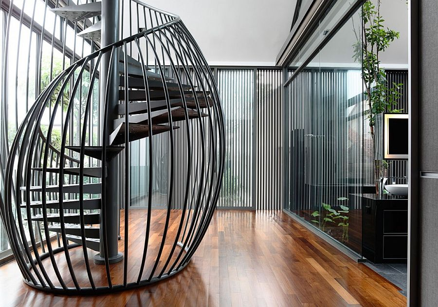 Stunning spiral staircase connecting the master bedroom to the study above
