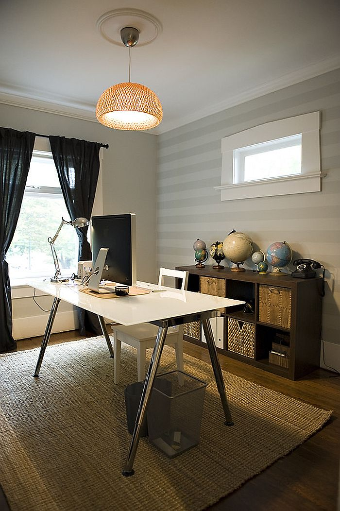 Subtle use of stripes in the eclectic home office [From: The Locker]
