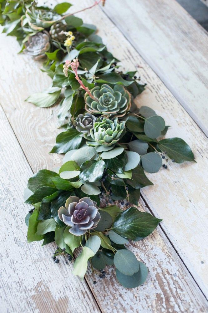 Succulent table runner from Refinery29