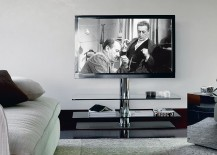 Swivelling-TV-unit-with-chromed-structure-and-clear-glass-shelves-217x155
