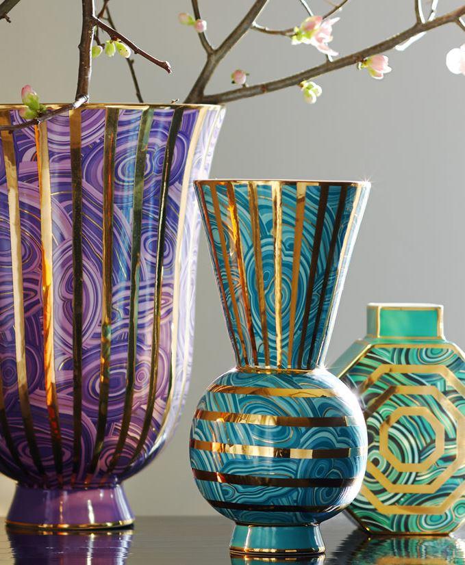 Teal malachite vase from Jonathan Adler
