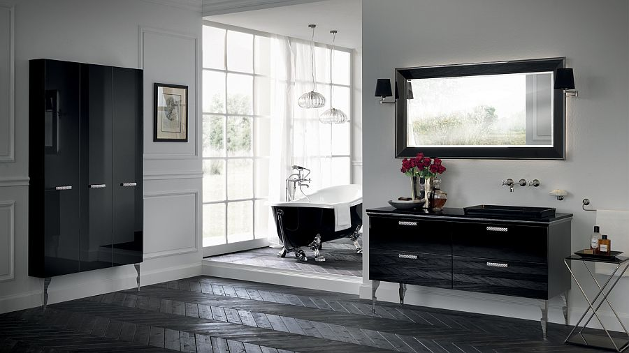 Timeless bathroom design in Black with touch of retro charm
