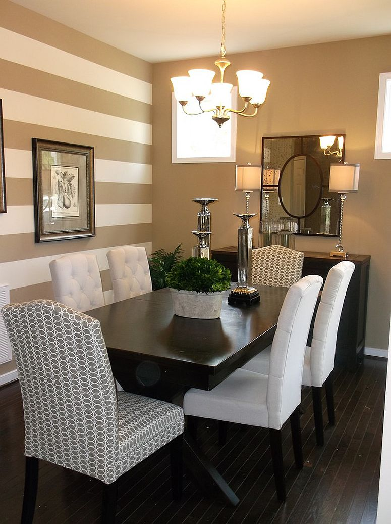 Traditional dining room with a striped accent wall [Design: Anita Roll Murals]