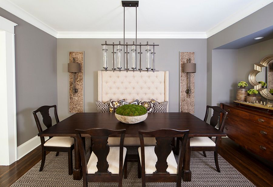 gray wall brown furniture. Transitional Dining Room Has A Serene, Calming Vibe [Design: Urban Home Magazine] Gray Wall Brown Furniture
