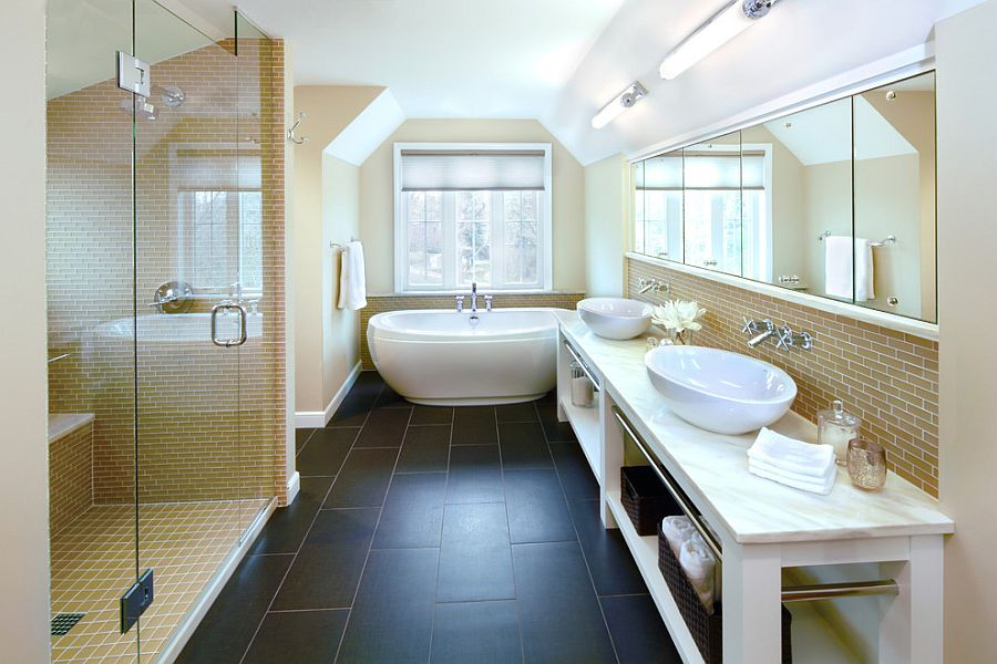 Trendy bathroom design combines the modern and the classic [Design: DiGiacomo Homes & Renovation]