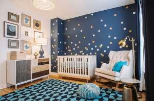 Trendy nursery design inspired by the night sky [Design: SuzAnn Kletzien Design]