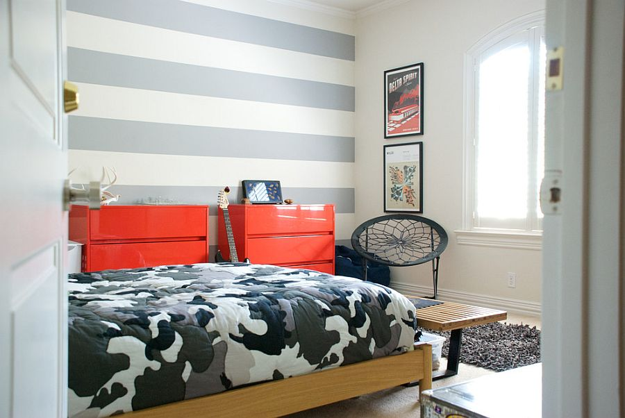 Trendy stripes in the tween bedroom shape a lovely accent wall [From: Hilary Walker / Our Style Stories]