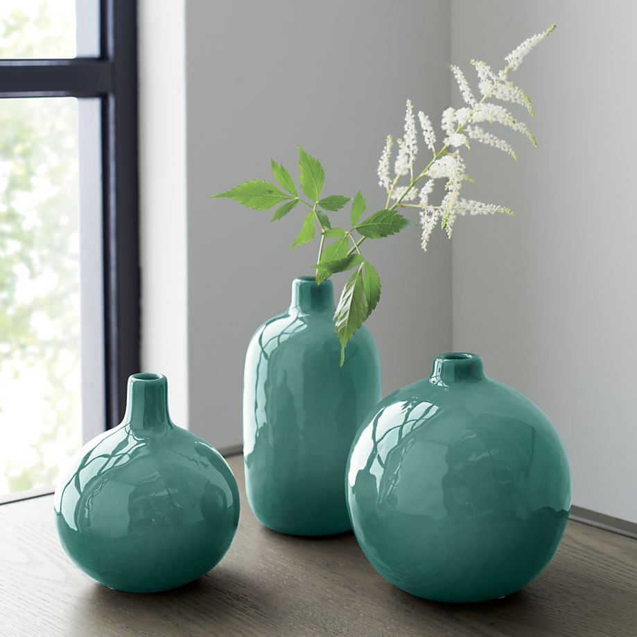 Turquoise bud vases from Crate & Barrel