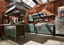 Unique kitchen island and shleves bring together style and praticality