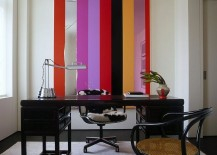 Unique wall art additions brings stripes to the home office