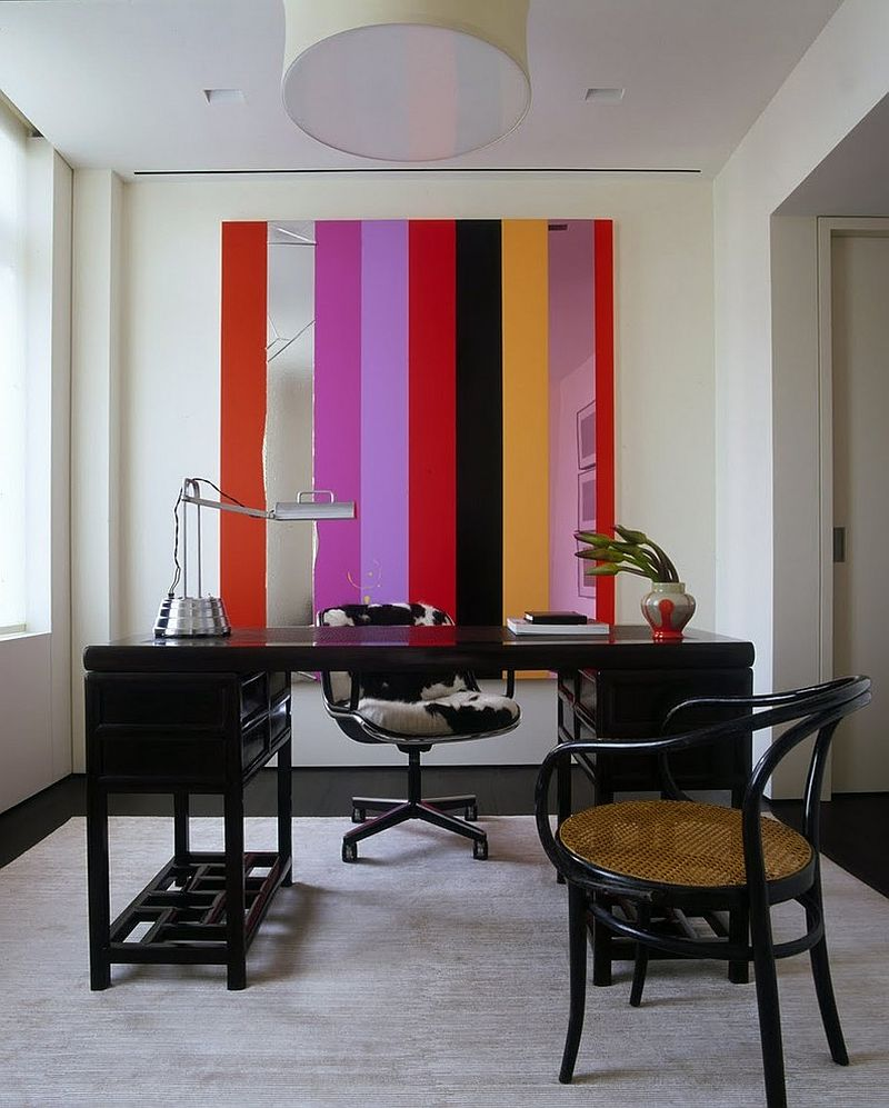 Unique wall art addition brings stripes to the home office [Design: Incorporated]
