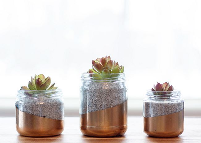 Upcycled glass jar planter from Circusberry Upcycle Everyday Kitchen Items to Create Modern Planters