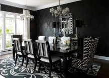 Use wallpaper to craft a dazzling dark backdrop for the dining room