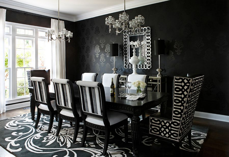 Use wallpaper to craft a dazzling dark backdrop for the dining room [Design: Kristin Drohan Collection and Interior Design]
