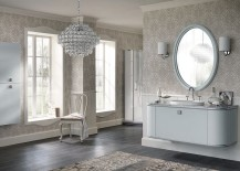 Vanity and shelf units with silver handles in the bathroom
