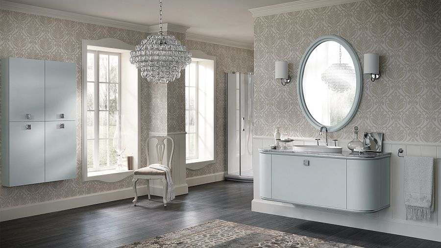 view in gallery vanity and shelf units with silver handles in the bathroom