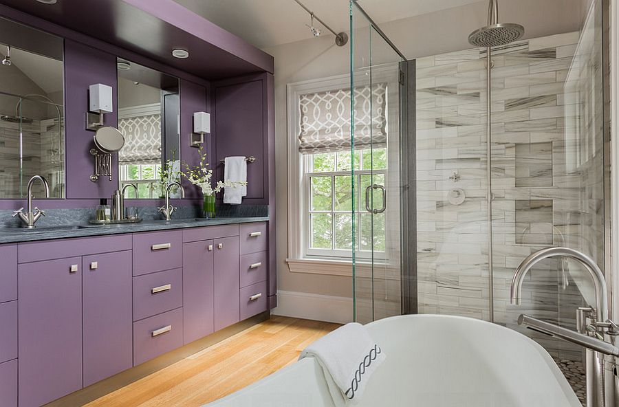 ... Vanity brings purple to the lavish master bath [Design: LDa Architecture & Interiors /