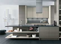 Versatile kitchen siland design with open shelves and closed cabinets