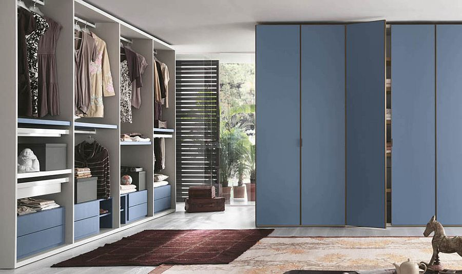 Versatile walk-in closet comes in charming blue finish