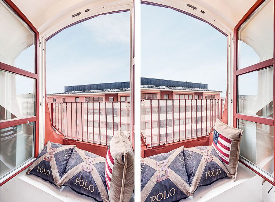 WIndow nook of the Stockholm attic duplex with lovely views of the city