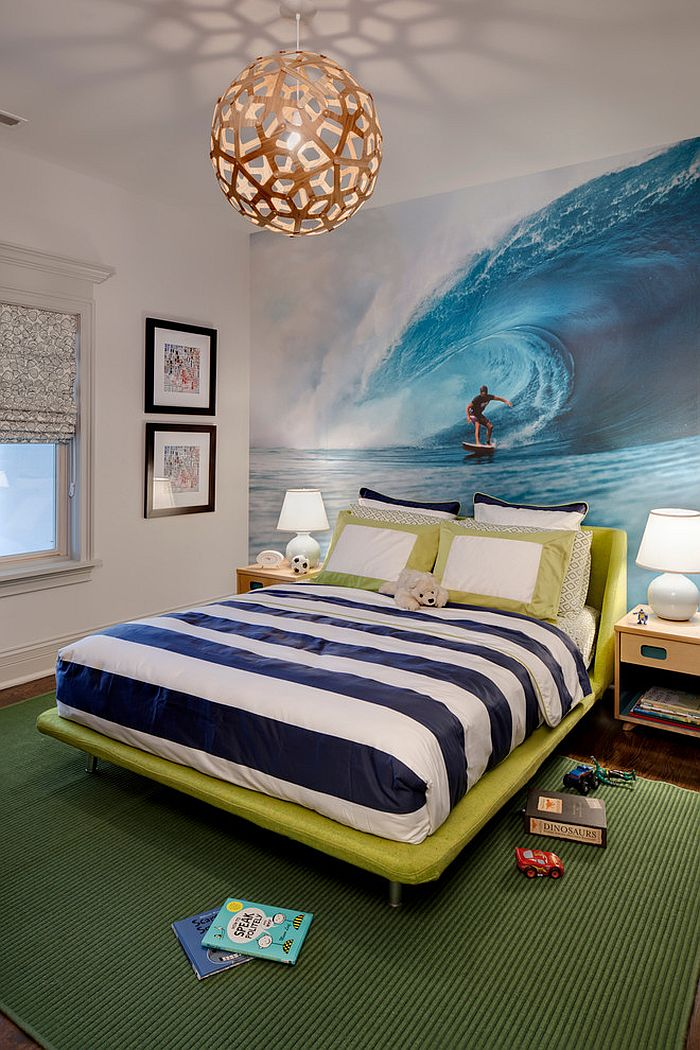 Wall mural in the bedroom inspired by the ocean! [Design: Buckingham Interiors + Design]