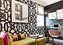 Wallpaper adds bold pattern to the beautiful home office