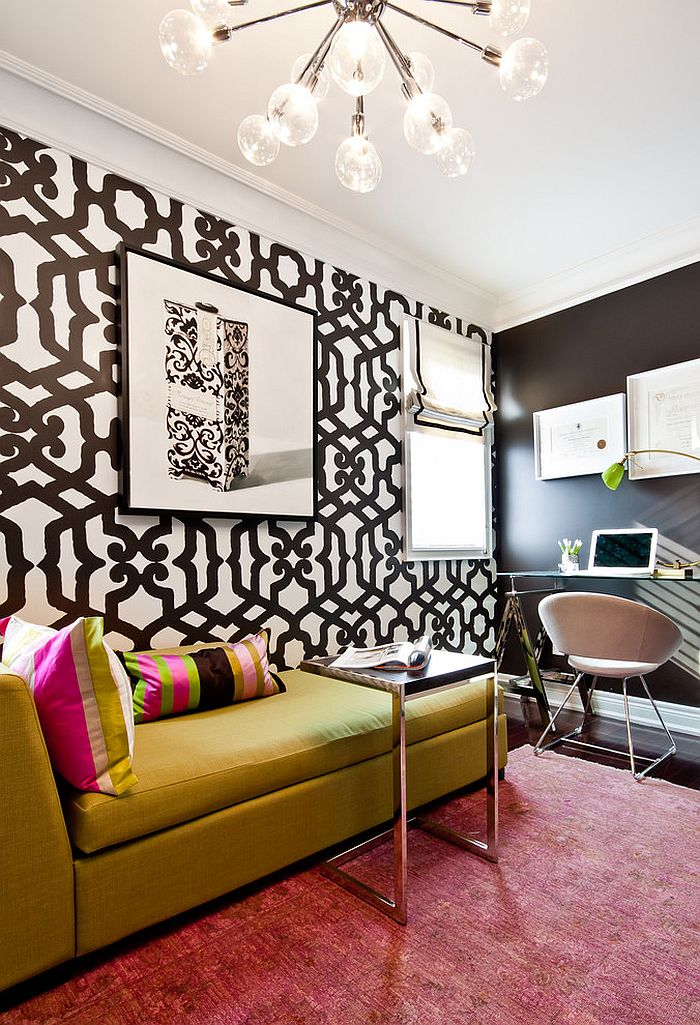 Wallpaper adds bold pattern to the beautiful home office [Design: Shirley Meisels]