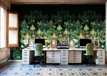 Wallpaper brings color and intrigue to the eclectic home office