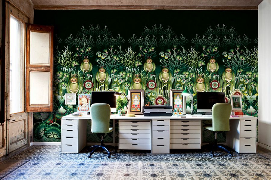 Wallpaper brings color and intrigue to the eclectic home office [Design: Catalina Estrada]