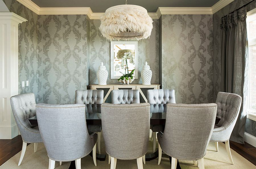 Wallpaper in gray adds pattern to the exquisite dining room [Design: Martha O'Hara Interiors]