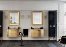 Washbasins in gold leaf finish bring opulence into the bathroom