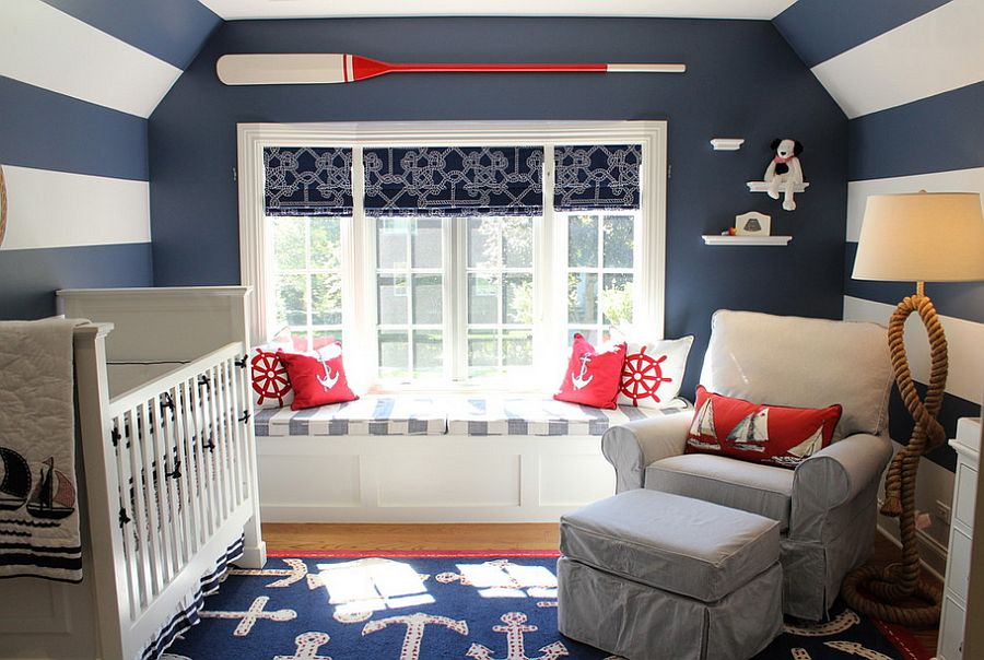 White and dark blue stripes along with decor usher in the nautical look [Design: Steffanie Danby Interiors]