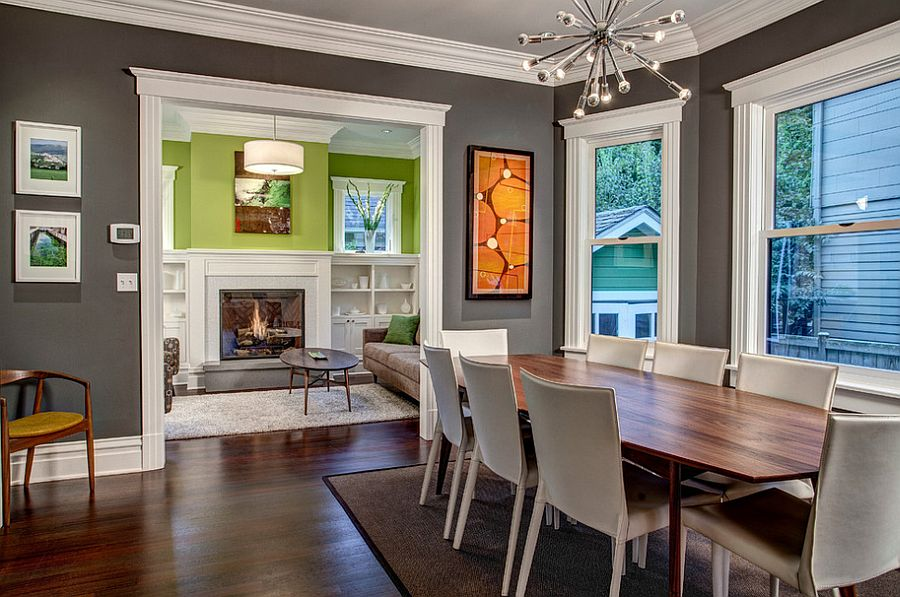 Attractive ... White Trims Bring Added Beauty To The Gray Dining Room [Design: Board  And Vellum