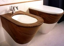 Wood Bidet and Toilet