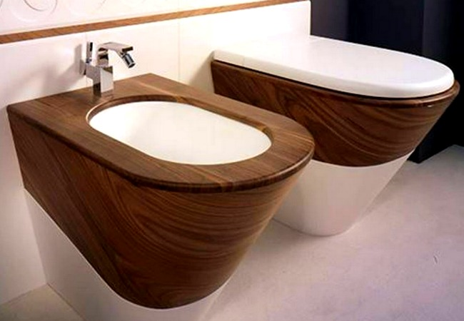 View In Gallery Modern, Yet A Bit Rustic Bidet And Toilet Set