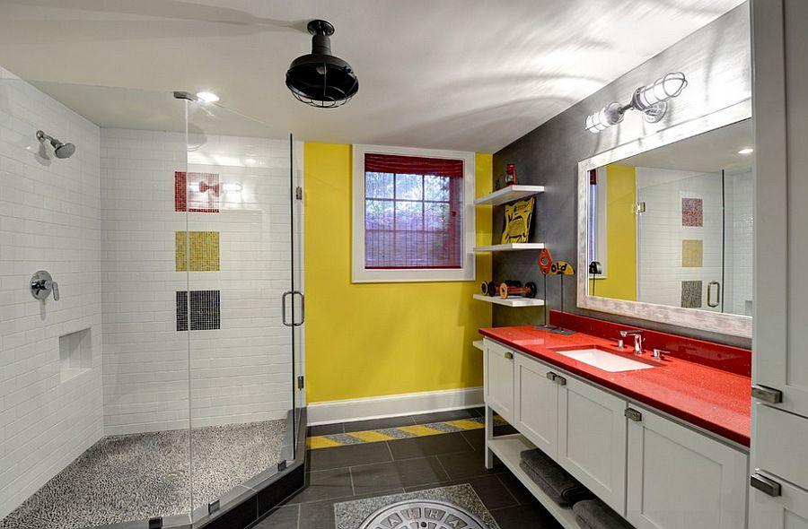 Yellow brings visual brightness to the posh gray bathroom