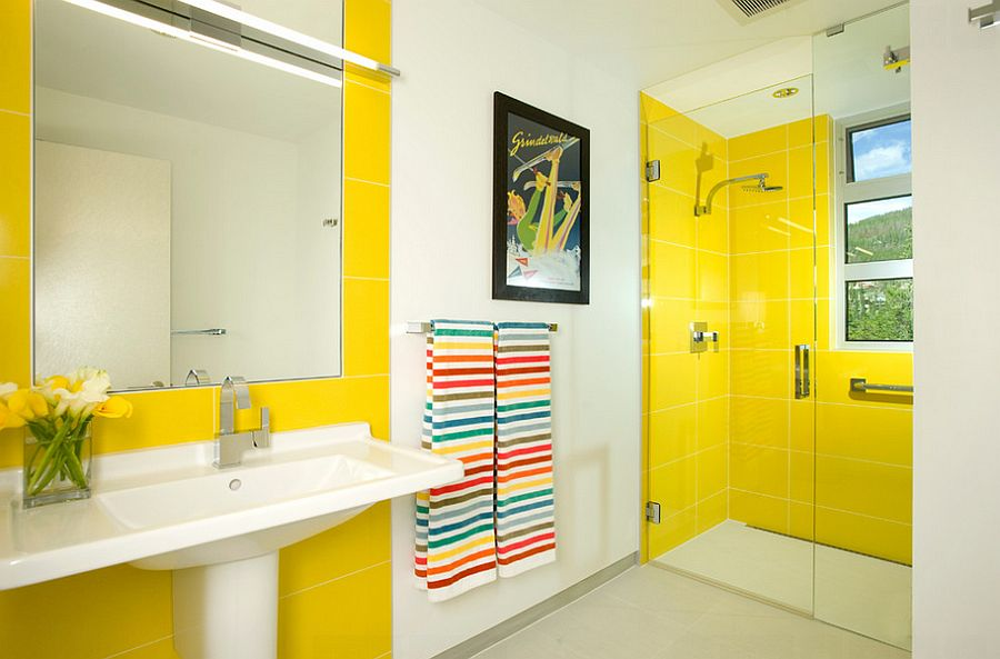 Yellow tiles make a big visual impact in the modern bathroom [Design: Allen-Guerra Architecture]