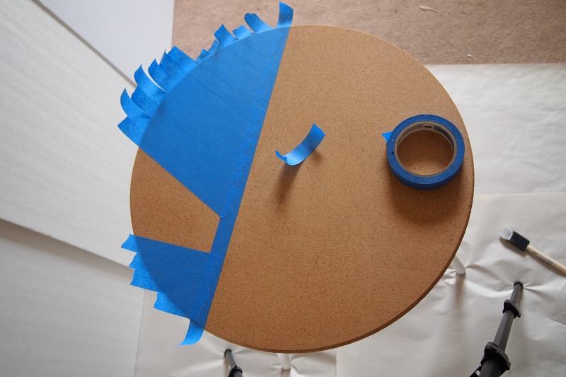 adding tape to create a pattern