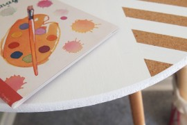 close-up of finished painted table
