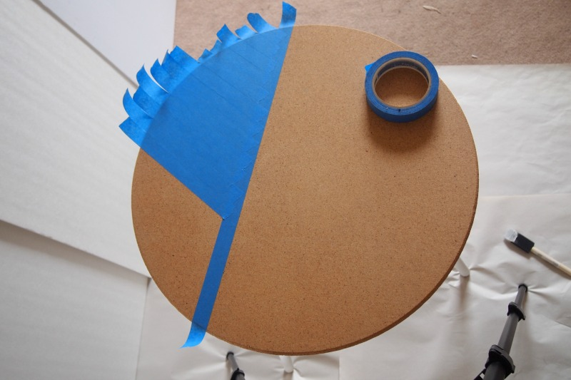 taping tabletop for striped pattern