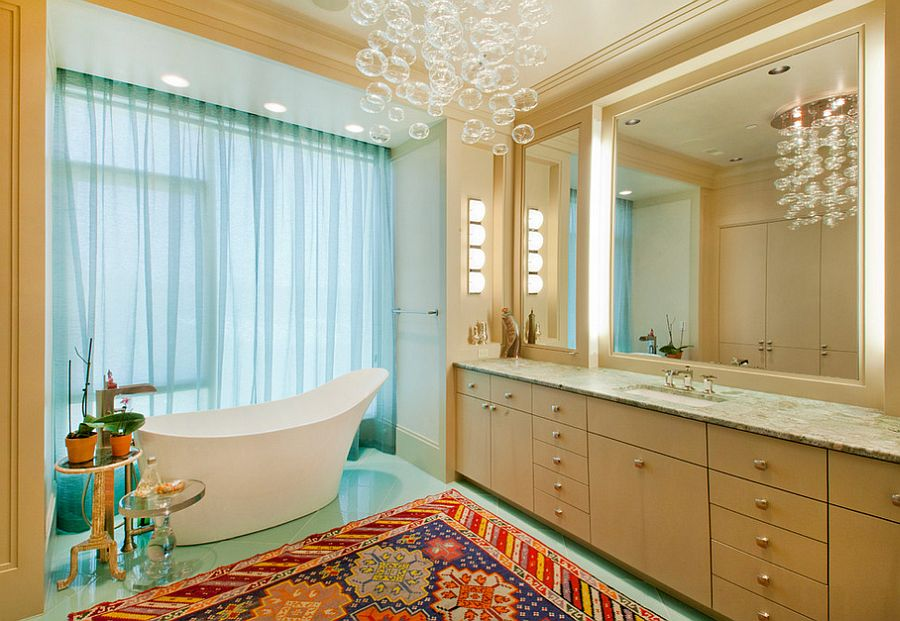 A chandelier with floating bubbles seems apt for the trendy, contemporary bathroom