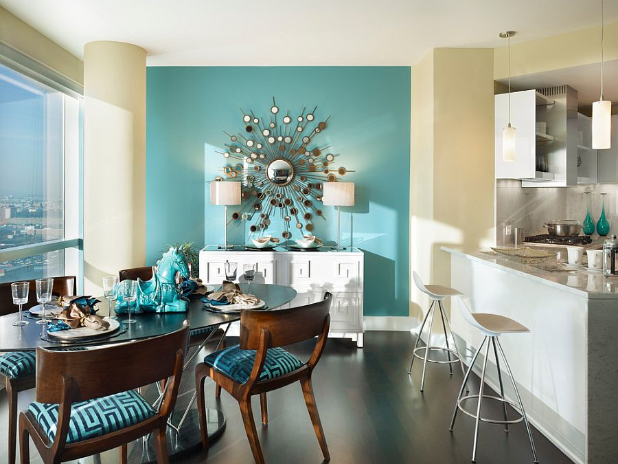 Blue dining rooms 18 exquisite inspirations design tips for Accent wall color ideas for kitchen