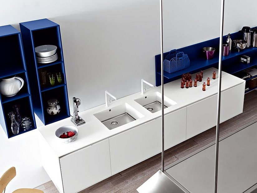 A touch of Royal blue for the contemporary white kitchen